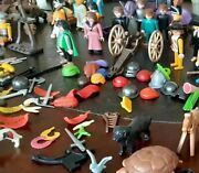 Large Lot Of Vintage Playmobil Figures And Accessories - Preowned Good Condition