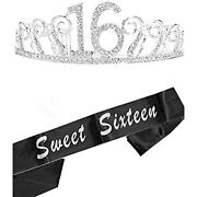 16th Birthday Gifts For Girl, Tiara And Sash, Happy Party Supplies, Sweet Crown