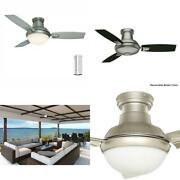 Verse 44 In. Led Indoor/outdoor Satin Nickel Ceiling Fan With Light Kit And Univ