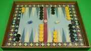 Hand-petit Needlepoint Backgammon Board W/ 30 Checkers/ Doubling Cube And Dice