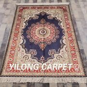 Yilong 4and039x6and039 Oriental Silk Handknotted Area Rug Indoor Home Decor Carpets 873b