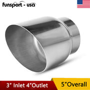 3 Inlet 4 Outlet 5inch Long Diesel Weld-on Exhaust Tip Chrome Stainless Steel