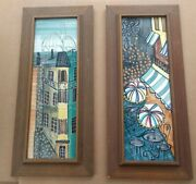 Harris Strong Signed Listed Mid-century Modern Artist Set Of Mcm Cityscape Tiles