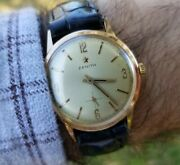 Zenith Menand039s 1950and039s Mechanical 18k Solid Gold 17 Jewel Swiss Made Watch 2541