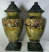 """Pair Of Vintage Pottery Urns W/lids Rustic Thick Glaze 16"""" X 7"""""""