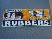 """Goodrich Rubbers 14-1/2""""x5-1/2"""" Ande Rooney Cats Porcelain Metal Tin Sign"""