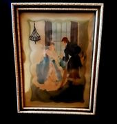 Vintage Reverse Painted Silhouette Picture Victorian Men And Woman Dancing