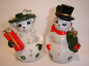 Vintage Anthropomorphic Snowman Couple Salt And Pepper Shakers