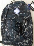 Us Navy Usn Military Digital Blue Camo 17x12 Light Weight Backpack Licensed