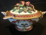 New Price   Exquisite Fitz And Floyd Florentine Christmas Tureen With Ladle