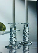 New In Box Crystal Steuben Twist Candlesticks/holders Heart Love Holiday Decor
