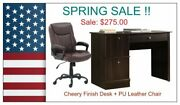 🍀spring Sale-cherry Finish Desk + Pu Leather Chair 🍀