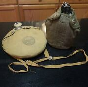 Lot Of 2 Vintage Metal Water Canteens Army And Boy Scouts Of America W/pouches