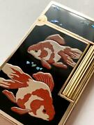 Lacquer Takamakie Dupont Gas Lighter Goldfish Pure Gold Used Traditional Crafts