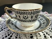 Crown Staffordshire Black Victoria Bone China Tea Cup And Saucer