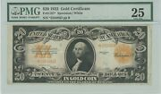 Fr. 1187 20 1922 Gold Certificate Vf25 Pmg Star Note 943588-1