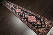 2'6 X 22' Hand Knotted Wool Rare Romanian Herizz Area Rug Midnight Blue Runner