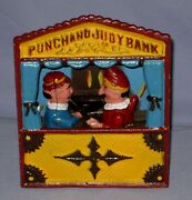 Vintage Reproduction Punch And Judy Cast Iron Working Mechanical Bank