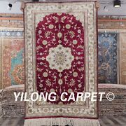 Yilong 2.5and039x4and039 Oriental Handwoven Silk Vintage Carpet Red Small Rug J15b