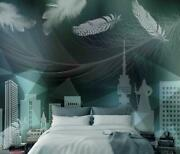3d Feather Building 12566na Wallpaper Wall Mural Removable Self-adhesive Fay