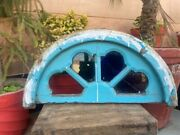 1890 Ancient Wood Hand Carved Blue Painted Colorful Glass Door Arch Panel