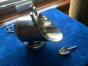 Antique English Silver Plate Sugar Holder Scuttle Bowl With Scoop