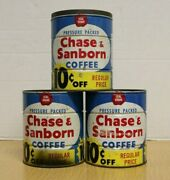 Vintage Lot Of 3 2lb Coffee Cans Chase And Sanborn