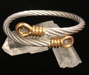 Vintage Fred Of Paris Force 10 18kt Gold Twisted Stainless Steel Cable Bracelet