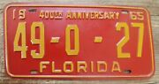 Vintage 1965 Florida License Plate 49 - 0 - 27 Hendry County - Minty 400th Tag