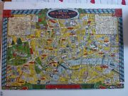 Rare 1930s Humorous Wooden Jigsaw Puzzle Map Of London With Poster Solution