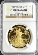 1989-w 50 American Gold Eagle 1 Oz Proof • Ngc Pf69 Ultra Cameo • Key Date Coin