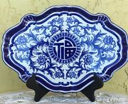 Chinese Blue And White Porcelain Plate Platter Tray Bombay Company 14.5andrdquo X 10andrdquo