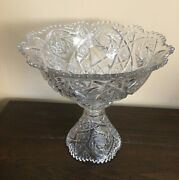 Large Imperial Pressed Glass Punch Bowl - Comet And Arch Sawtooth Edge