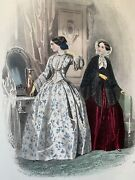 French Antique Hand Coloured Plate From 1851 Les Modes Parisiennes 454