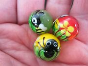 3 Spider-bee-dragonfly Bugs Insect Flower 16mm Handmade Art Glass Marbles