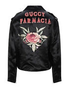 Black Washed Guccy Farmacia Embroidered Biker Jacket New 4500 It 50