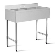 3 Compartment Stainless Steel Kitchen Commercial Sink Heavy Duty Home Business