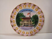 Abraham Lincoln Home Springfield Il Hand Painted Reticulated Ribbon Plate Vtg
