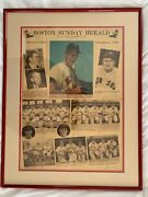 1946 Ted Williams - Framed Boston Sunday Herald Front Page - Al Champs