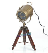 Nautical Antique Brown Floor Lamp Searchlight Wood Tripod Table Lamp Home Decor