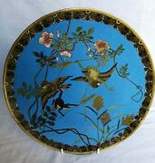 Super Japanese Cloisonne Charger – Fighting Frogs – C.1930's