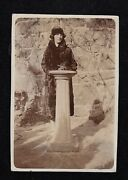Old Antique Photograph Woman In Flapper Hat And Fur Coat Standing By Podium