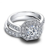 1.60 Ct Real Diamond Wedding Band Sets 14k Solid White Gold Rings Size 5 6.5 7 8