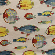 3yd Stunning Mill Creek Hook Line And Sinker Coral Fish Jacquard Upholstery Fabric