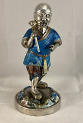 Very Rare Antique Chinese Silver Enamel Figure Of A Chinese Scholar