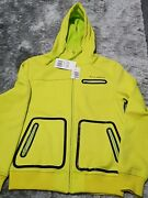 New Billabong Slide Hooded Jacket Snow Layer Lime/black Small 36-38 Inch Zips