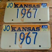 1995 Kansas Vanity License Plates 1967 - Its A Great Year Minty Wheat Tags - Yom