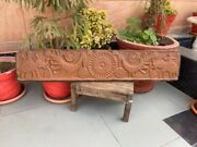 Ancient Wood Carved Elephant Peacock Figure Painted 42 X 9'' Mughal Door Panel
