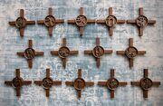 Set Of Stations Of The Cross In Massive Bronze On Wooden Crosses