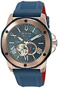 Bulova Marine Star 98a227 Automatic Navy Rose Gold Stainless Rubber Analog Menand039s